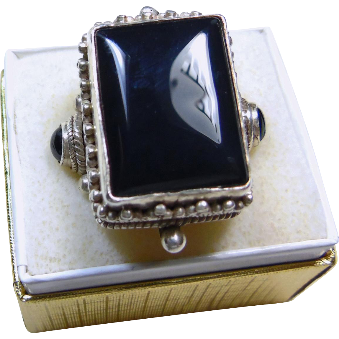 sterling silver and black onyx signet style ring from