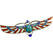 1925 Egyptian Revival Cloisonne Scarab Pin