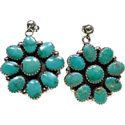 Sterling Silver Cluster Earrings with Kingman Turquoise