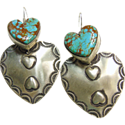 Navajo Sterling Silver and Turquoise Double Heart Earrings