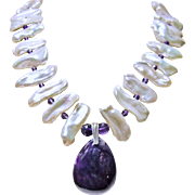 Sugilite Pendant on Necklace White Biwa Pearls and Amethysts