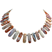 Necklace of Moroccan Agate and Small Black Spinel Beads