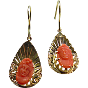 14k Yellow Gold Earrings with Carved Coral Cameos