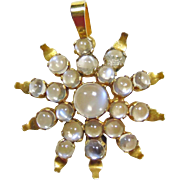 1920s Gold Star Burst Pendant with 'Blue Flash' Moonstones