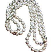 Endless Strand of 10mm Silver Grey Baroque Pearls