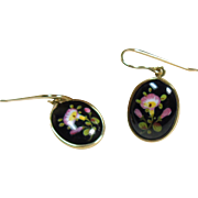 14k Enamel on Metal Drop Style Earrings for Pierced Ears