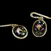 14k Enamel on Metal Drop Style Earrings for Pierced Ears