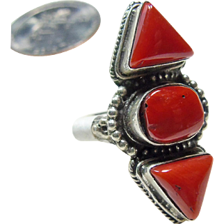 Tibetan Sterling Silver and Apple Sponge Coral Ring