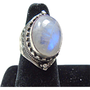 Tibetan Sterling Silver and Moonstone Ring