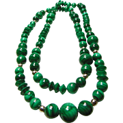 30 Inch Strand of Malachite and Silver Accent Beads