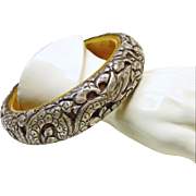 Tibetan Bone and Sterling Silver Cuff Bracelet