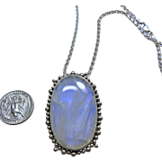 Blue Flash Rainbow Tibetan Moonstone Sterling Silver Pendant on Sterling Wheat Chain