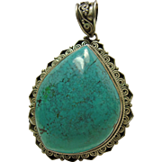 Sterling Silver and Tibetan Turquoise Pendant