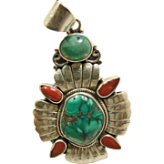 Sterling Silver Tibet Turquoise and Spiny Oyster Pendant