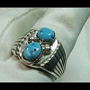 Sterling Silver and Turquoise Gentlemen's Ring