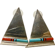 1950's Triangular Shape Zuni Earrings