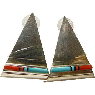 1950's Triangular Shape Zuni Earrings