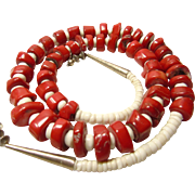 Southwestern Red Coral and White Shell Bead Necklace