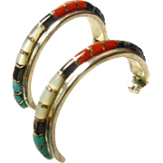 Zuni Sterling 1/2 Hoop Earrings with Inlay of Turquoise, Coral, Mop, Lapis and Onyx