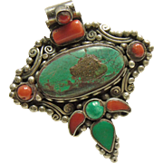 Tibetan Sterling Silver Pendant Decorated with Turquoise and Coral