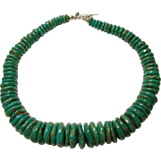 Superb Green Turquoise Rondelle Necklace