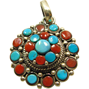 Tibetan Sterling Silver Pendant with Turquoise and Coral