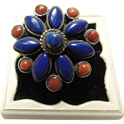 Tibetan Sterling Ring with Lapis and Spiny Flower