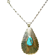 Navajo Sterling Silver Necklace and Turquoise Pendant