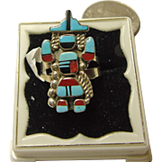 Sterling Silver Rainbow Kachina Ring