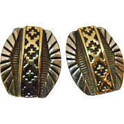Navajo 14K Gold on Sterling Silver Earrings by Tommie Secatero