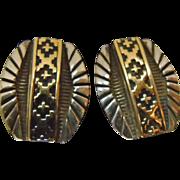 Navajo 14K Gold on Sterling Silver Earrings by Tommie Secatero