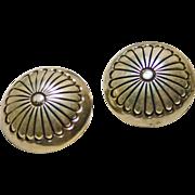 Sterling Silver Concho Earrings - Clip