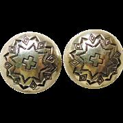 Sterling Silver Concho Earrings