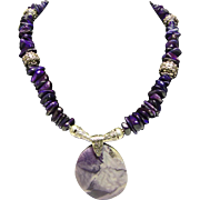 Sugilite and Bali Bead Necklace with Tiffany Stone Pendant