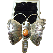 Sterling Silver Butterfly Pin with Spiny Oyster