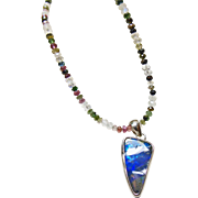 Natural Tourmaline and Moonstone Necklace with a Boulder Opal Pendant