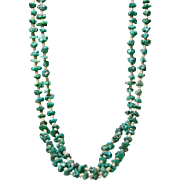 Double Strand of Turquoise Nuggets and Shell Heishi Necklace