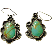 Sterling Silver Drop Style Earrings with Turquoise