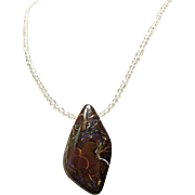 Necklace of Natural Crystals with Australian Boulder Opal Pendant