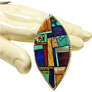Alvin Yellowhorse Sterling Stone on Stone Inlay Ring