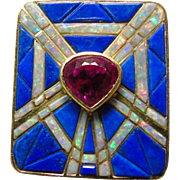 14k Ring with Rubellite Tourmaline In Center of Lapis and Opal Inlay