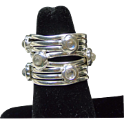 Sterling Silver Stack Ring with Embedded Moonstones