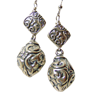 Sterling Silver Repousse Drop Style Earrings