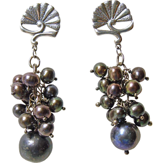 Sterling Silver and Black Freshwater Pear Cluster Earrings
