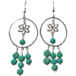 Sterling Silver Hoop Earrings with Carved Turquoise Beads