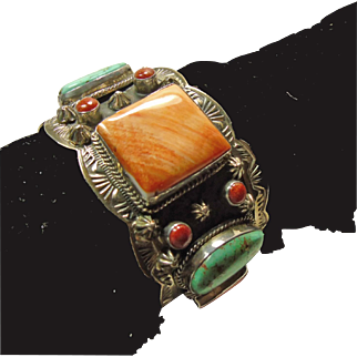 Sterling Cuff Bracelet with Spiny Oyster, Coral and Turquoise by Shakey