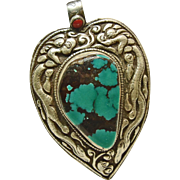Tibetan Turquoise in Double Sided Sterling Silver Pendant