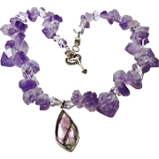 Amethyst Rough Nugget Necklace with Tourmaline Pendant