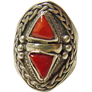 Tibetan Sterling Silver Red Coral Ring
