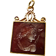 Carnelian in Gold Watch Fob